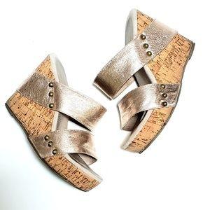 Very Volatile   Rose Gold Strap Wedge Heel